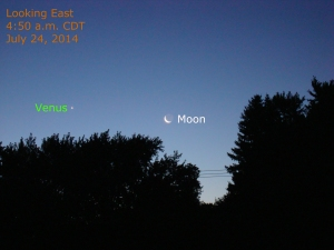 Venus and the Moon on the morning of July 24, 2014.