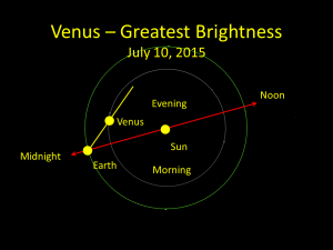Venus reaches its greatest separation from the sun on June 6, 2015.