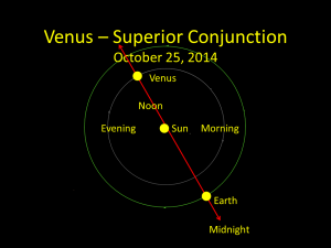 Venus at superior conjunction, October 25, 2014.