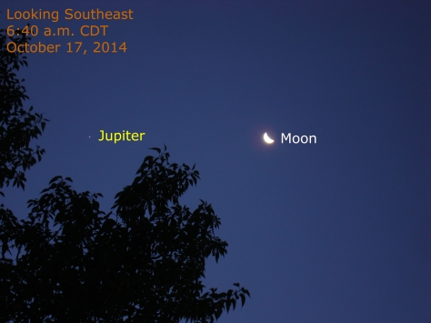 The moon and Jupiter, October 17, 2014, 6:40 a.m. CDT