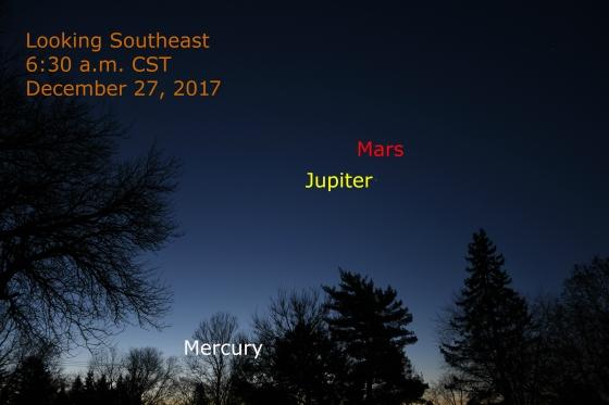 December 27, 2017: Jupiter, Mercury & Mars