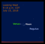 Figure 9: Venus and the moon are separated by nearly 2 degrees with the star Regulus nearby on July 15.