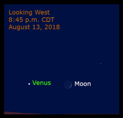 Figure 10: The moon is 10.5 degrees to the right of Venus.