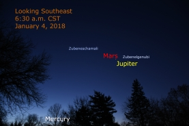 January 4, 2018: Jupiter, Mercury, and Mars.