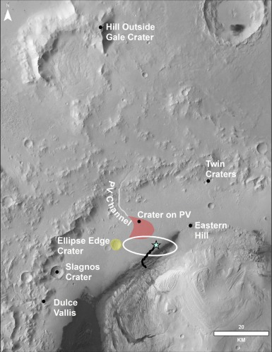 Vista From Mars Rover Looks Back Over Journey So Far Vera Rubin Ridge on Mars This image of the northwestern portion of Mars' Gale Crater and terrain north of it, from the European Space Agency's Mars Express orbiter, provides a locator map for some features visible in an October 2017 panorama from NASA's Curiosity Mars rover. Image Credit: ESA/DLR/FU Berlin/NASA/JPL-Caltech