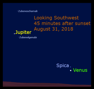 August 31: A Venus-Spica Conjunction. Venus appears 1.2° below Spica.