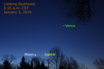 2019, January 3: Brilliant Venus, Jupiter and the waning crescent moon.