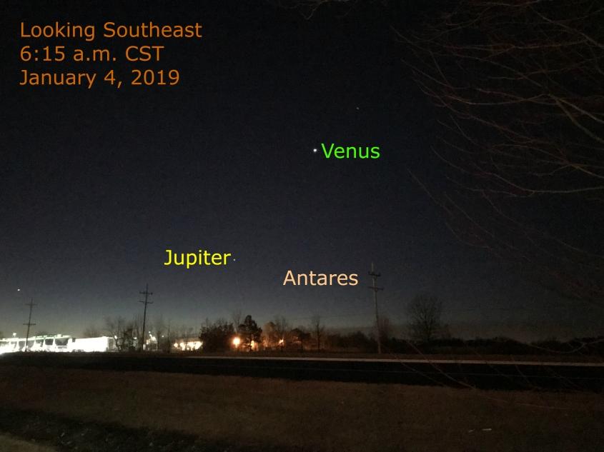2019: January 4: Morning Star Venus, Jupiter , and Moon – When the