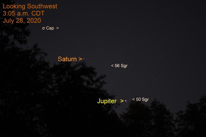 Jupiter and Saturn, July 28, 2020