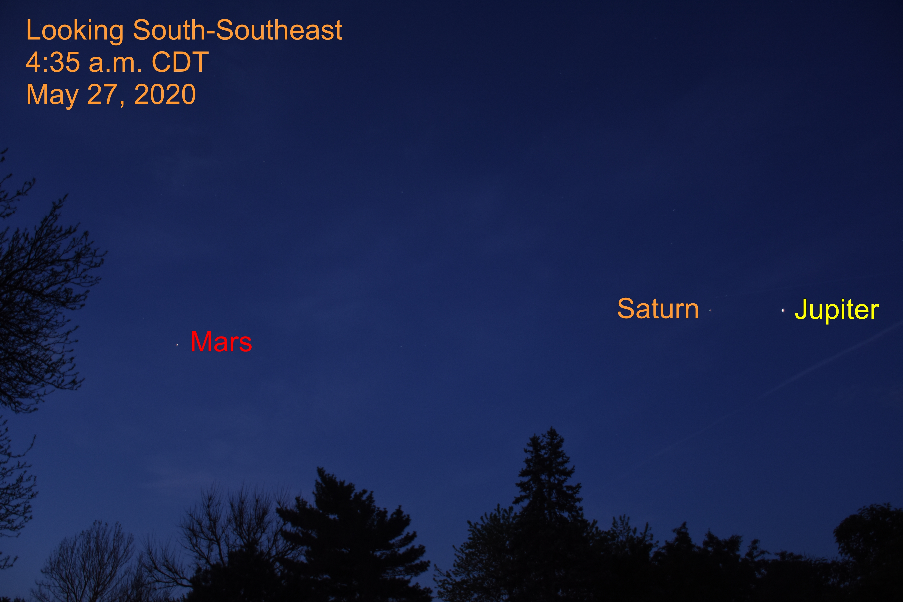 Jupiter, Saturn, and Mars, May 27, 2020