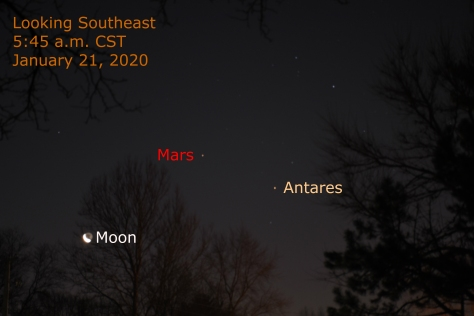 Mars, Moon and Anatres January 21, 2020