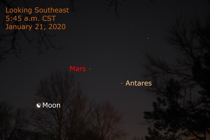 Mars, Moon and Anatres January 21, 2020