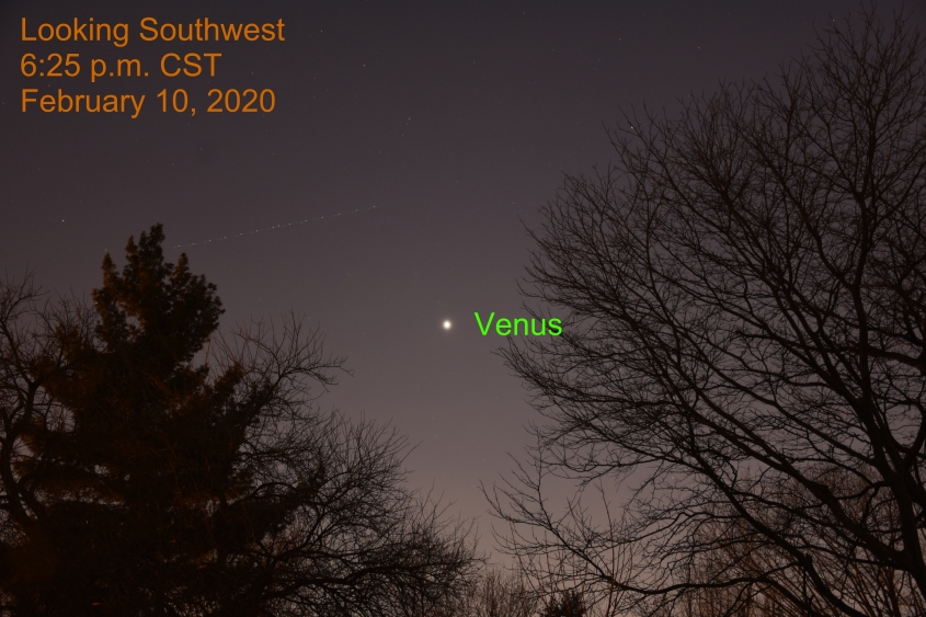 February 10, 2020: Venus shines in the southwest after sunset.