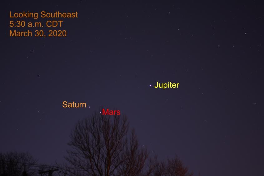 Jupiter, Saturn, and Mars, March 30, 2020