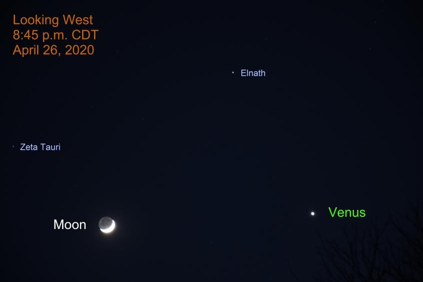 Brilliant Venus and the Crescent Moon, April 26, 2020