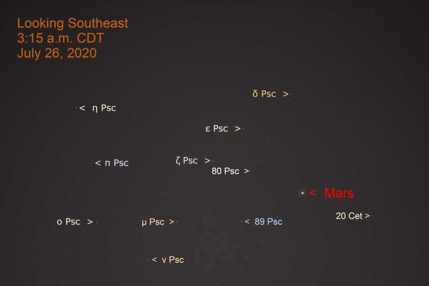 Mars is Cetus, July 26, 2020.
