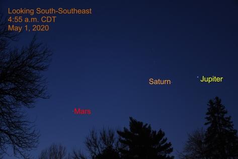 Morning Planets Jupiter, Saturn, and Mars, My 1, 2020