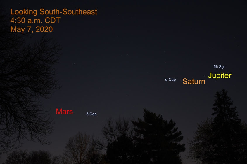 Jupiter, Saturn, and Mars, May 7, 2020