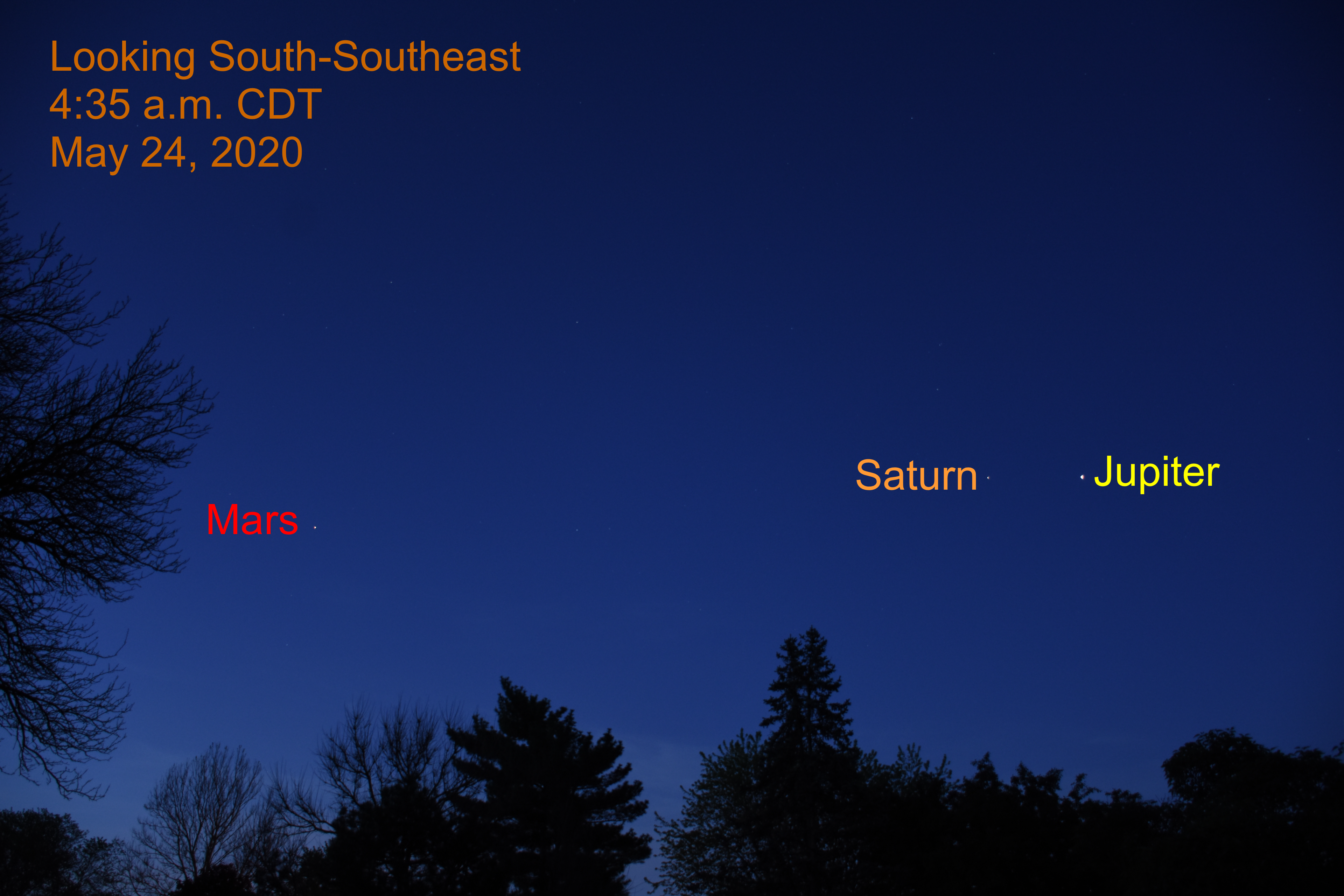 Jupiter, Saturn, and Mars, May 24, 2020