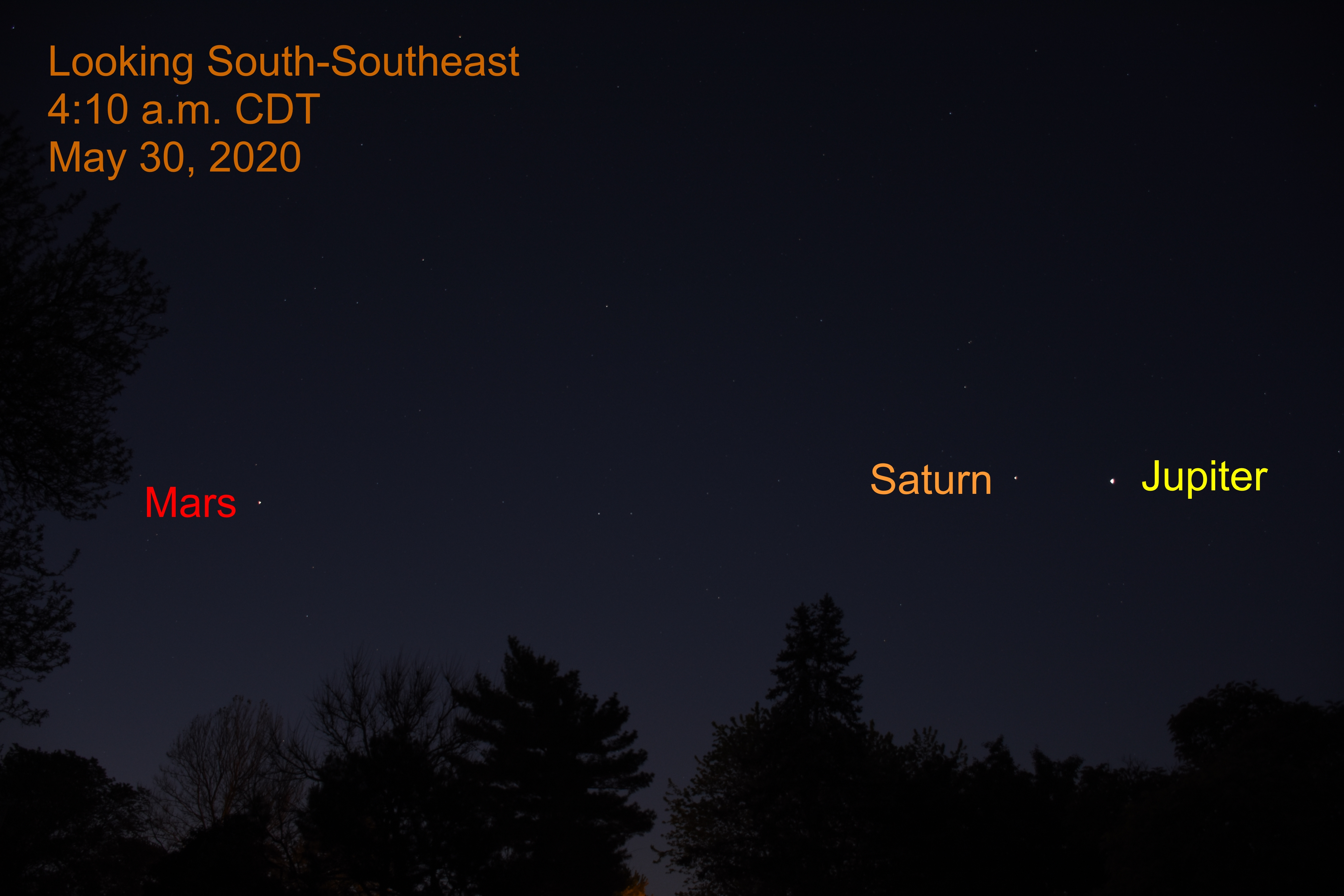 Jupiter, Saturn, and Mars, May 30, 2020