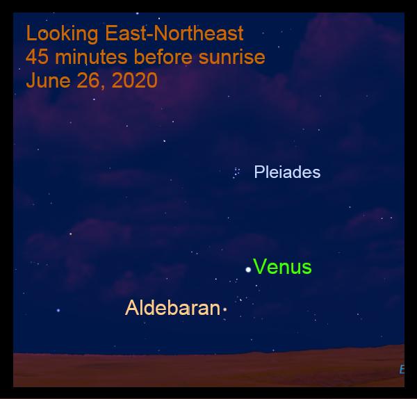 Venus and Aldebaran, June 26, 2020