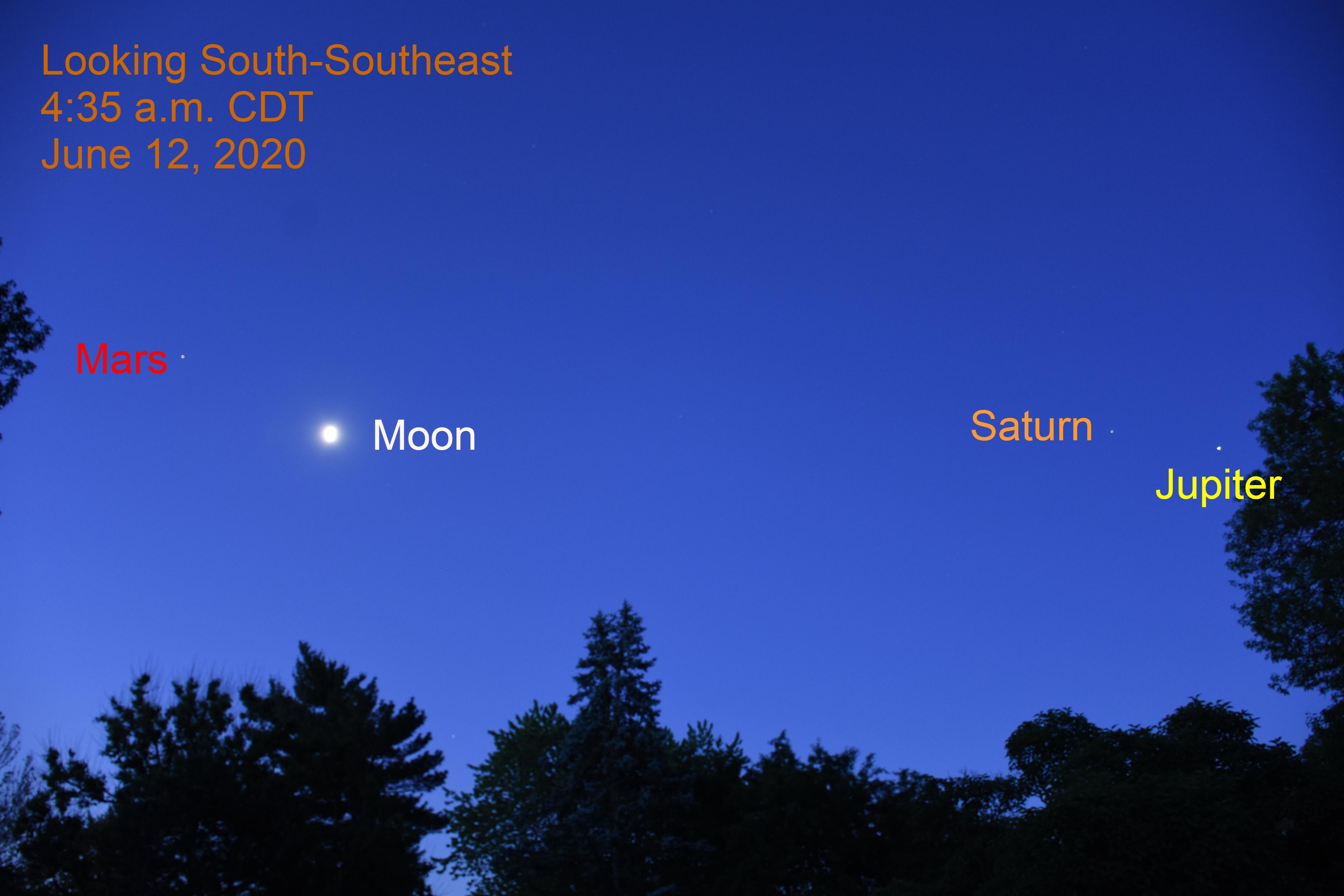 Mars, Moon, Saturn, and Jupiter, June 12, 2020