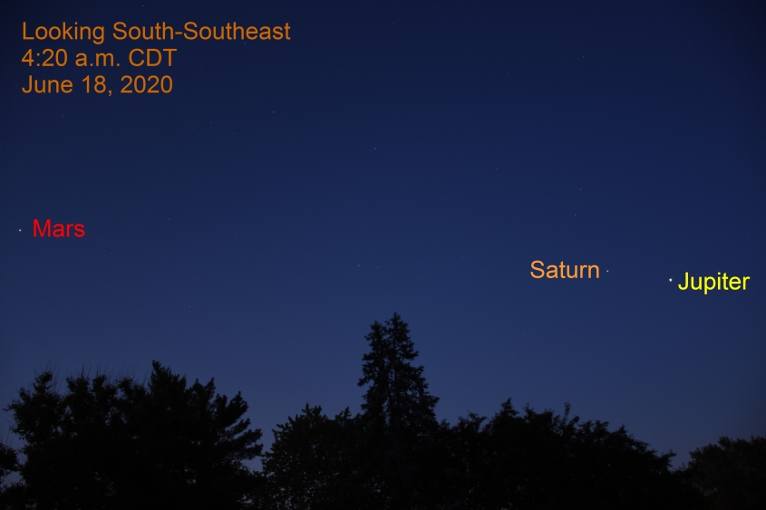Mars, Saturn, and Jupiter, June 18, 2020