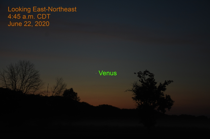Venus in east-northeast, June 22, 2020