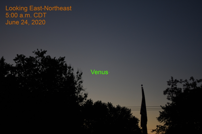 Venus, 25 minutes before sunrise, June 24, 2020