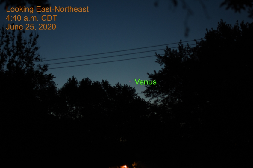 Venus in east-northeast, June 25, 2020