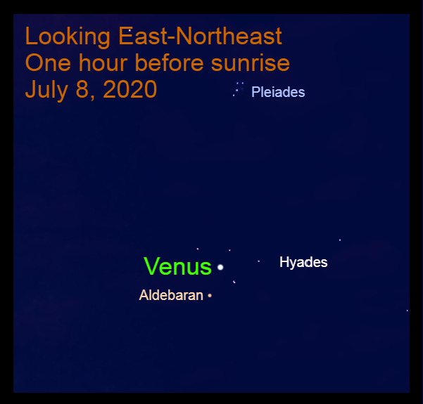 Venus at its brightest in Taurus, July 8, 2020