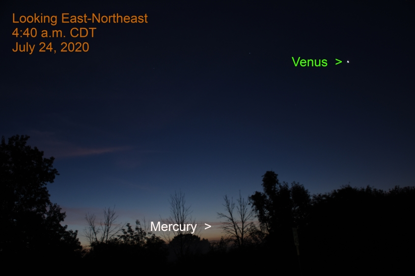 Venus and Mercury, July 24, 2020