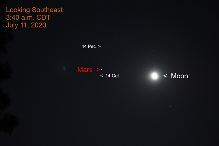 Mars and the moon in Cetus, July 11, 2020