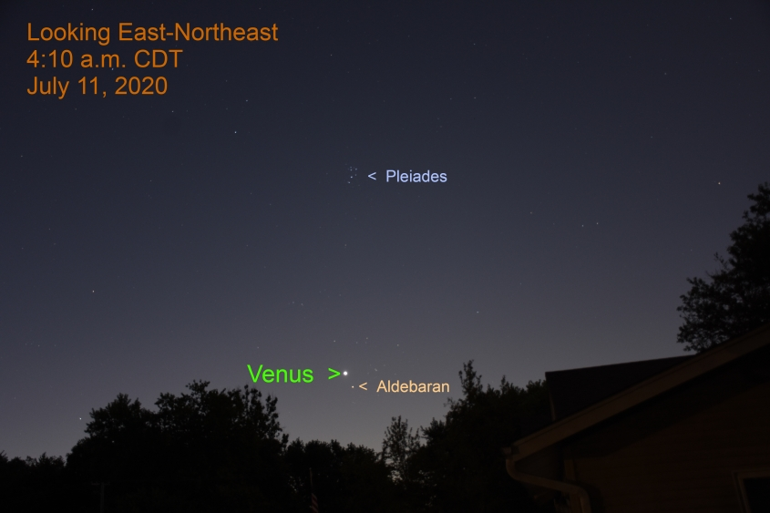 Venus and Aldebaran, July 11, 2020