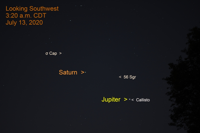 Jupiter and Saturn in eastern Sagittarius, July 13, 2020