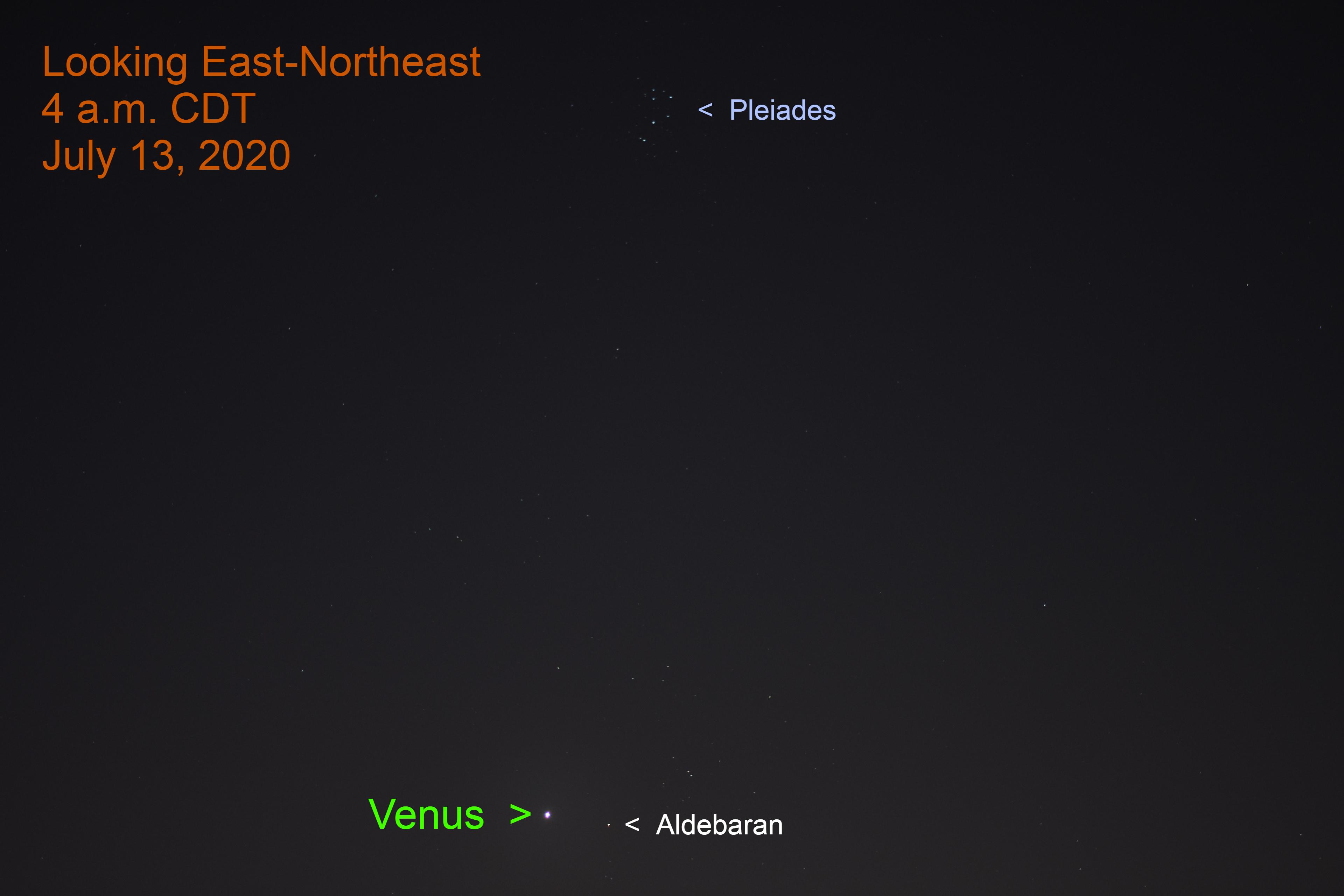 Venus, Aldebaran, Hyades, Pleiades, July 13, 2020.
