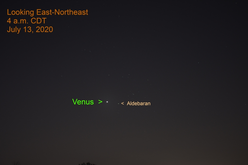 Venus and Aldebaran, July 13, 2020