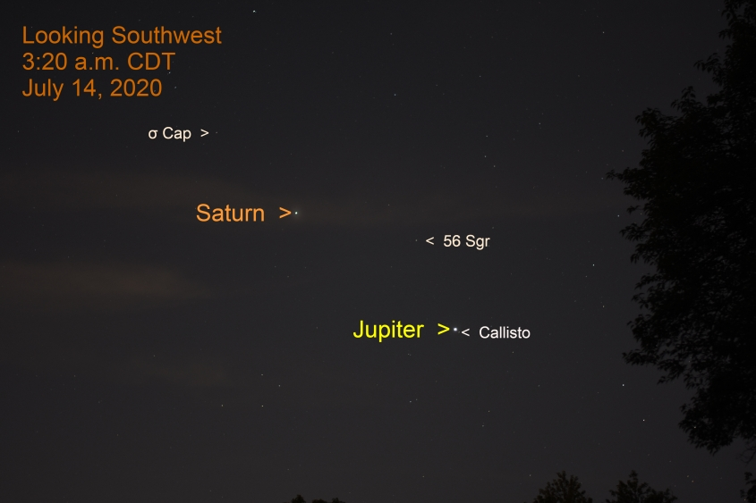Jupiter and Saturn in Sagittarius, July 13, 2020.