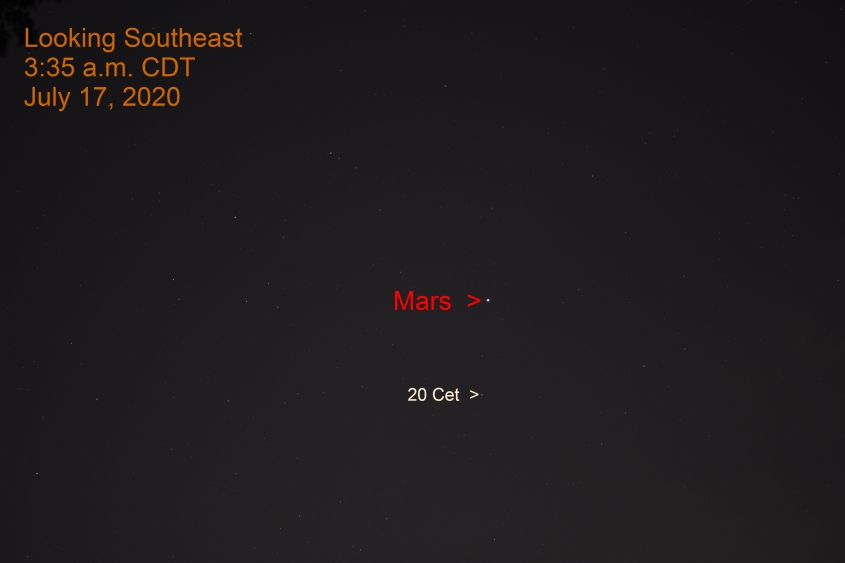 Mars in Cetus, July 17, 2020.