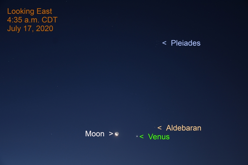 The crescent moon, Venus, Aldebaran and the Pleiades, July 17, 2020.