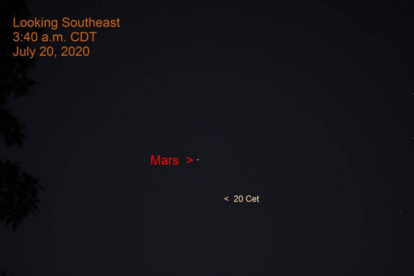 Mars in Cetus, July 20, 2020