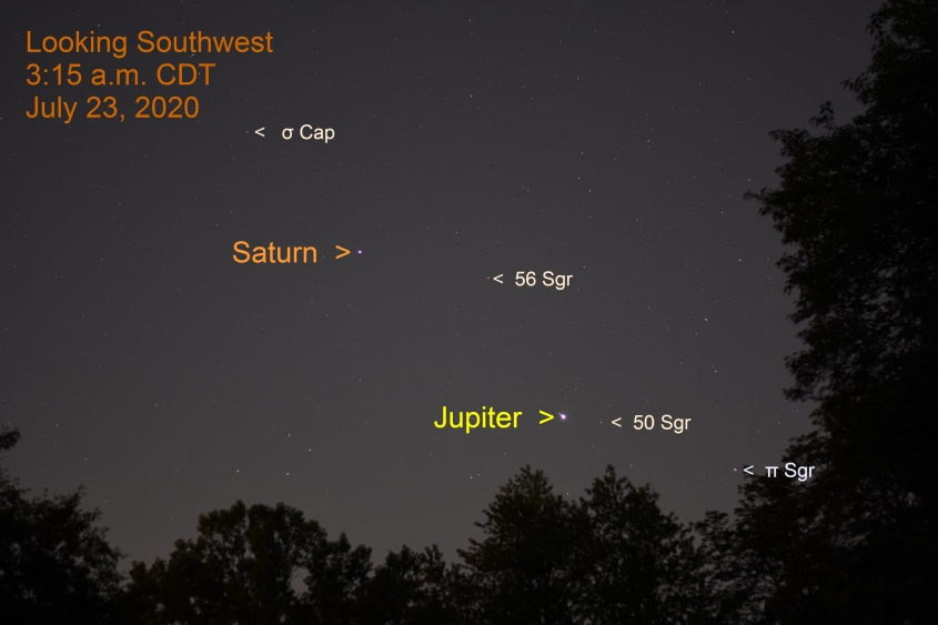 Jupiter and Saturn, July 23, 2020