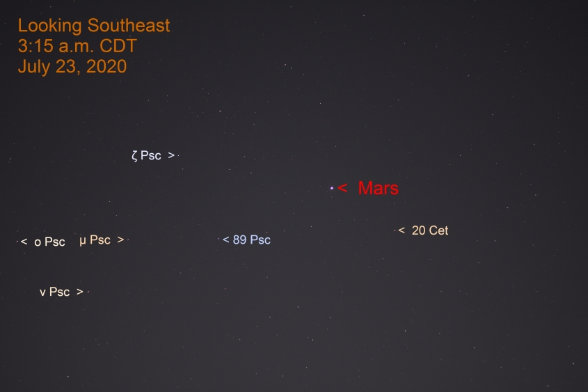 Mars in Cetus, July 23, 2020
