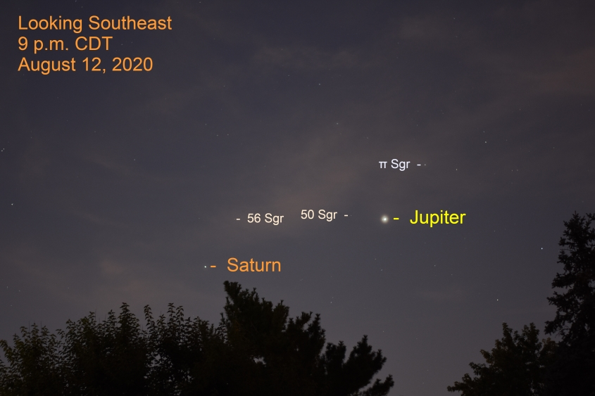 Jupiter and Saturn, August 12, 2020
