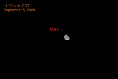 Moon and Mars, September 5, 2020