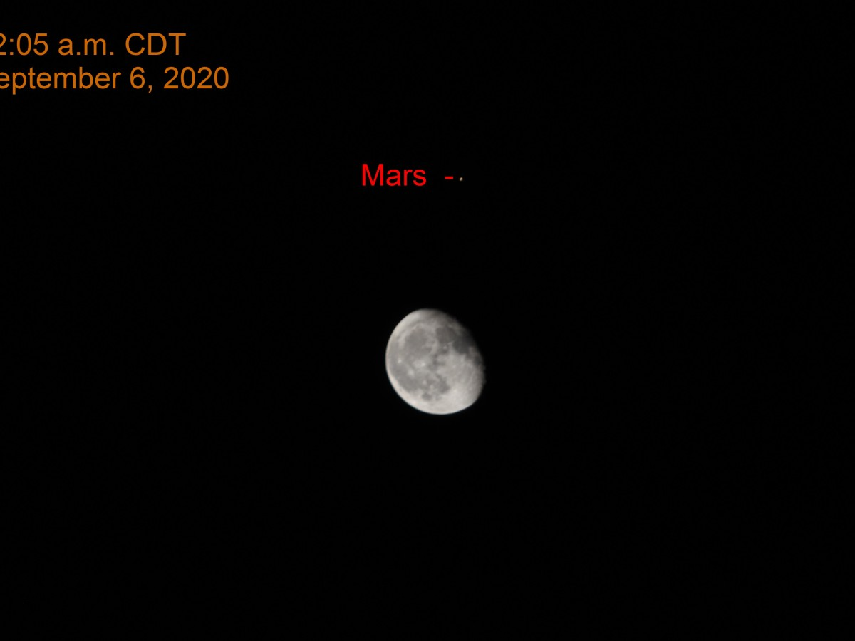 Mars and Moon, September 6, 2020