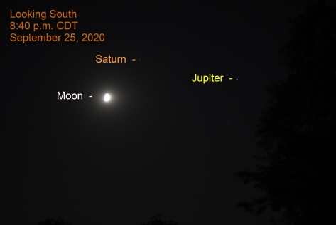 Jupiter, Saturn, Moon, September 25, 2020.