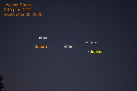 Jupiter and Saturn in Sagittarius, September 30, 2020