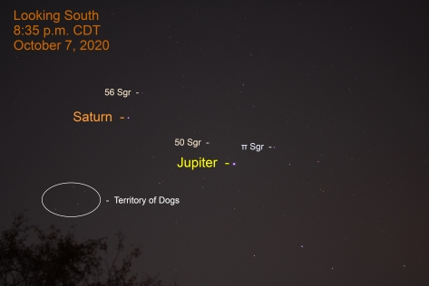 Jupiter and Saturn in Sagittarius, October 7, 2020