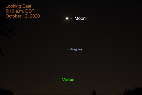 The moon, Regulus, and Venus, October 12, 2020